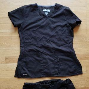 Black greys anatomy scrub set